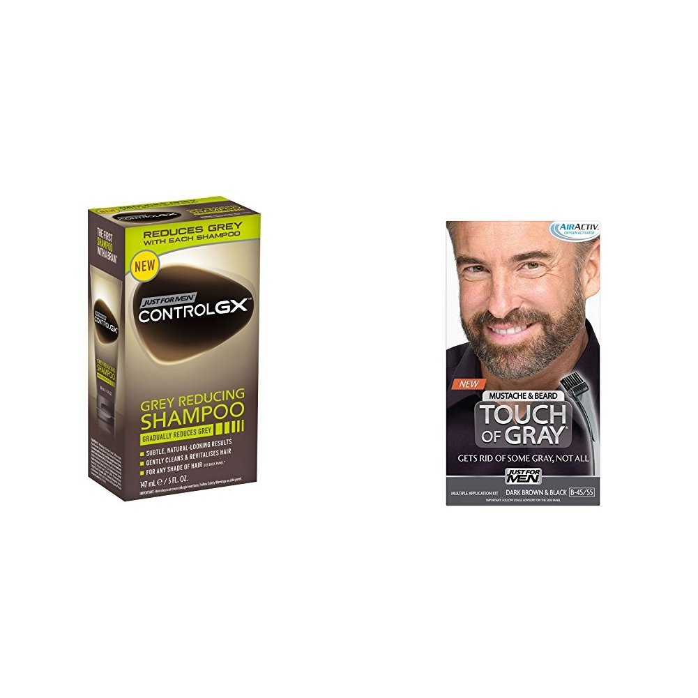 Just for Men Control GX Grey Reducing Shampoo, 5 fl oz & Just for Men Touch of Gray Mustache and Beard Color, Dark Brown & Black by Just for Men