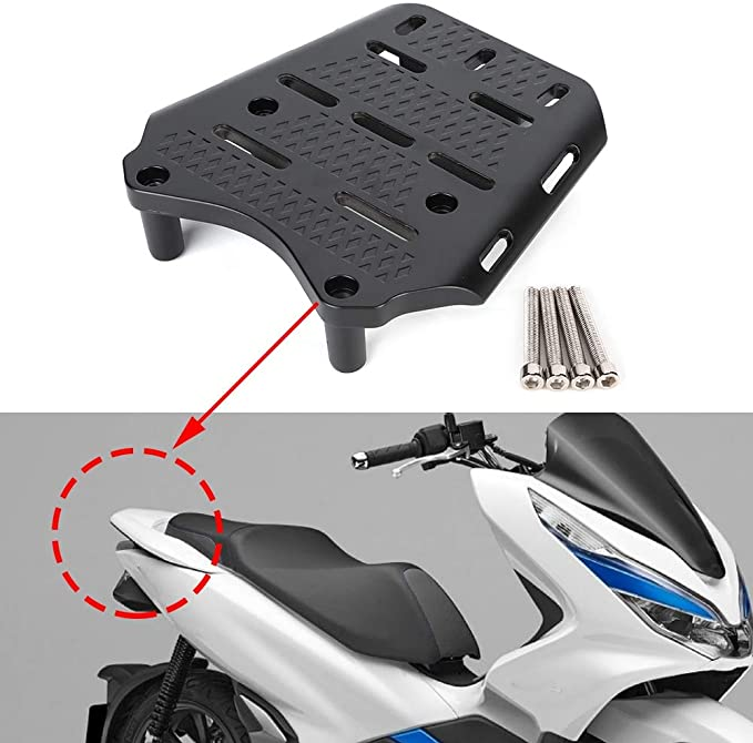 Gray EBTOOLS CNC Motorcycle Rear Luggage Rack Cargo Holder Shelf,Cargo Shelf Bracket for PCX 125 14-17,Aluminum