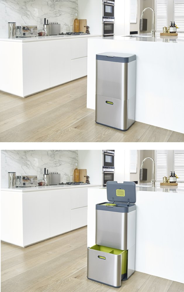Stainless Steel Joseph Joseph 30022 Intelligent Waste Totem Kitchen Trash Can and Recycle Bin Unit 16 Gallon 60 Liter