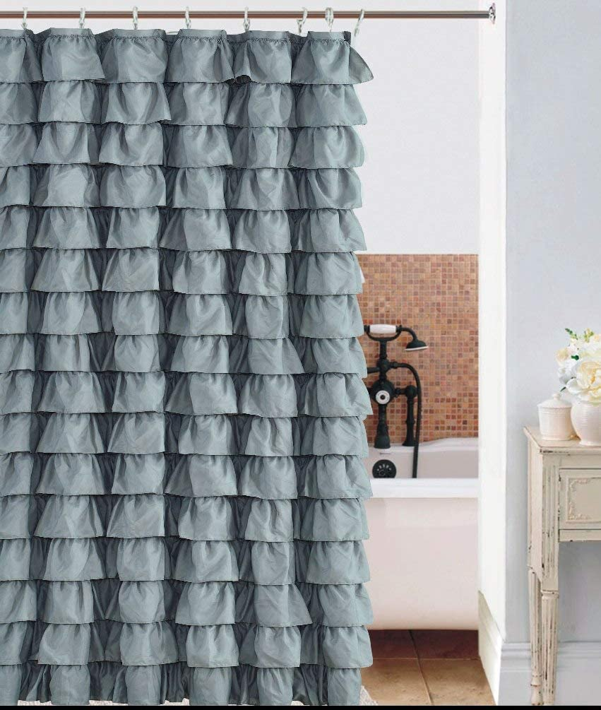 spring Home Waterfall Silver Ruffled Shower Curtain