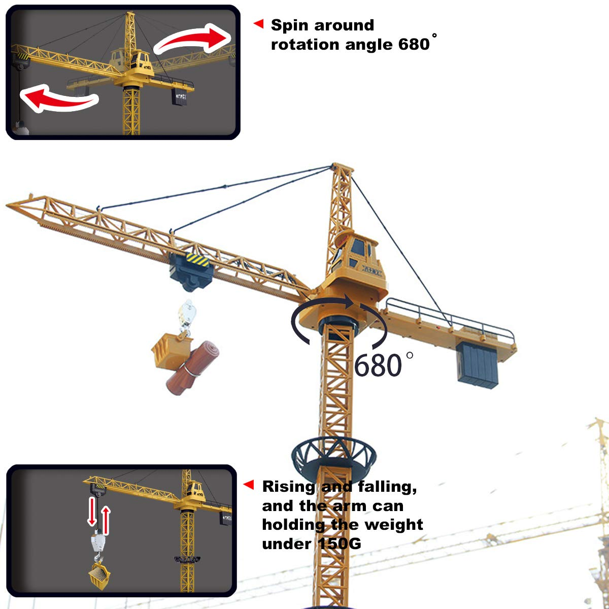 Fistone 6 Channel RC Tower Crane, 50.4 inches 680 Degree Rotation Lift Model 2.4GHz Remote Control Construction Crane Toy with Tower Light and Simulation Sound for Kids by Fistone (Image #3)