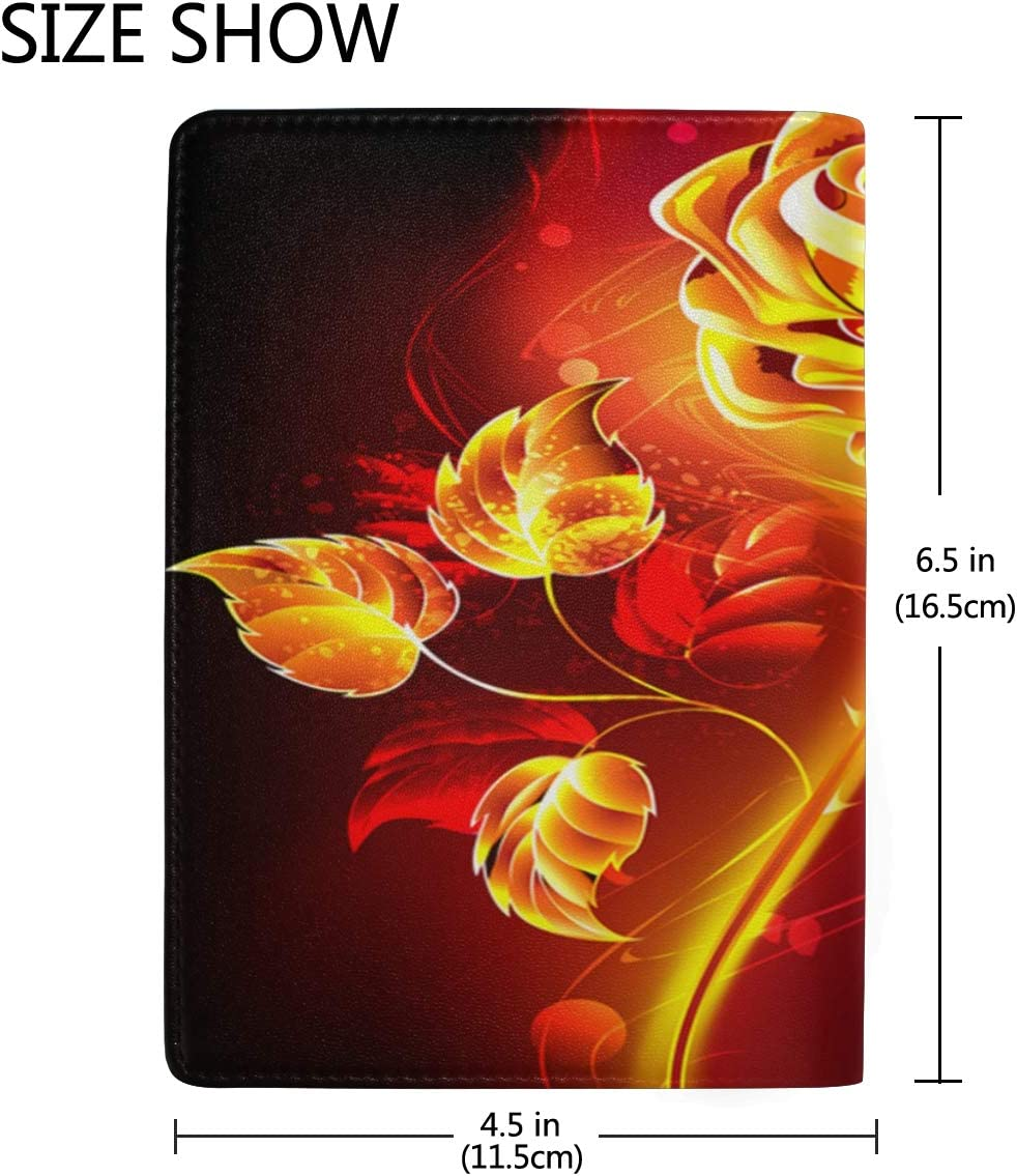 A Fire Red Rose Multi-purpose Travel Passport Set With Storage Bag Leather Passport Holder Passport Holder With Passport Holder Travel Wallet