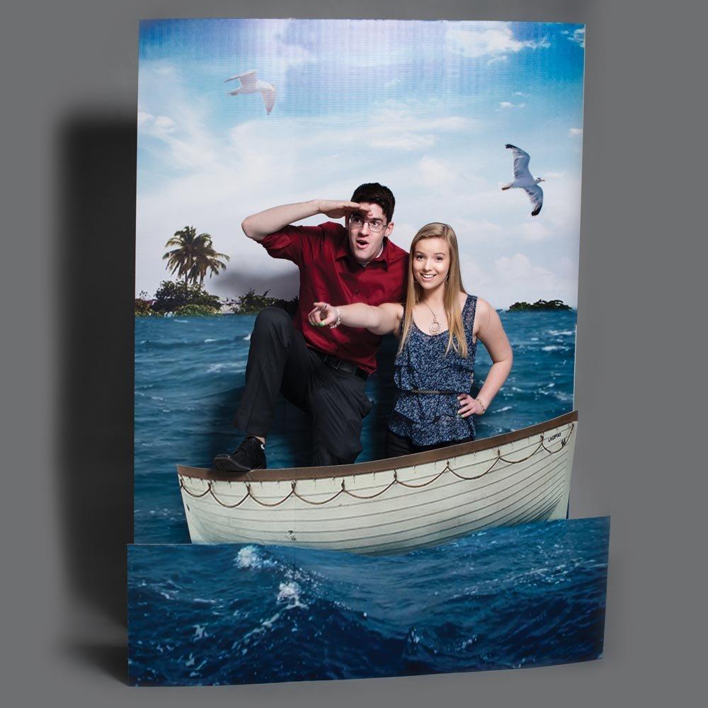 Life Boat Prom Photo Prop Background Kit, 8 Feet High x 6 Feet High Printed Cardboard Background