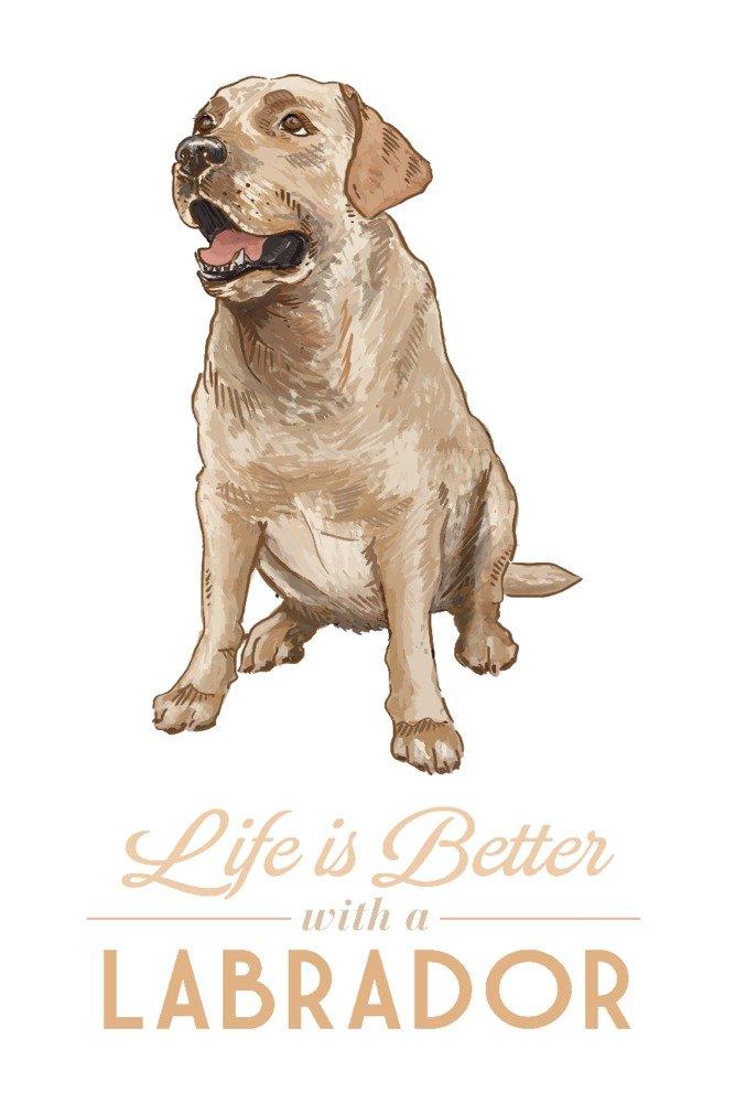 Yellow Labrador Retriever – Life Is Better 12 x 18 Art Print LANT-77385-12x18 B01LW47MRW 12 x 18 Art Print12 x 18 Art Print