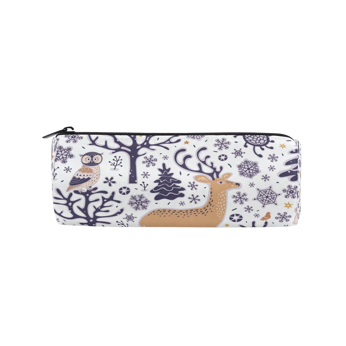 ALAZA Forest Animals Deer Owl Pencil Pen Case Pouch Bag with Zipper for Girls Kids School Student Stationery Office Supplies