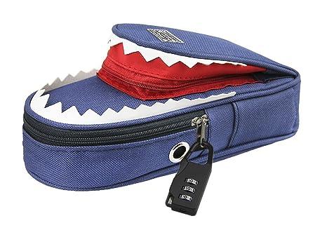 kingzhuo diseño de tiburón 3d estuche con cerradura de combinación cosméticos maquillaje bolígrafo cepillo funda soporte