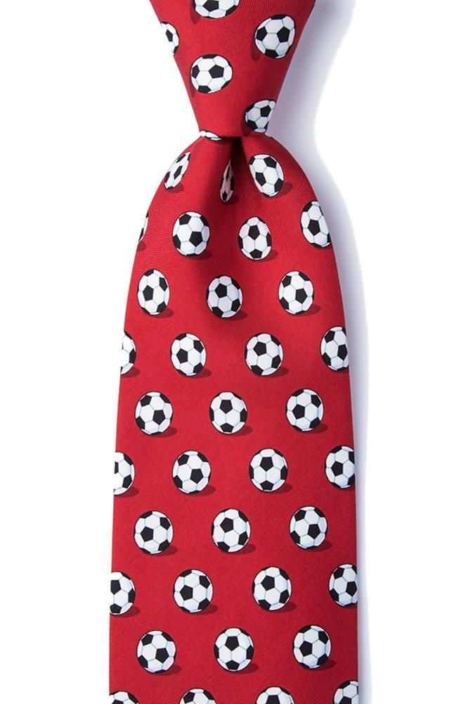 Men's 100% Silk Soccer Balls Goal Oriented Sports Necktie Tie Neckwear (Red)