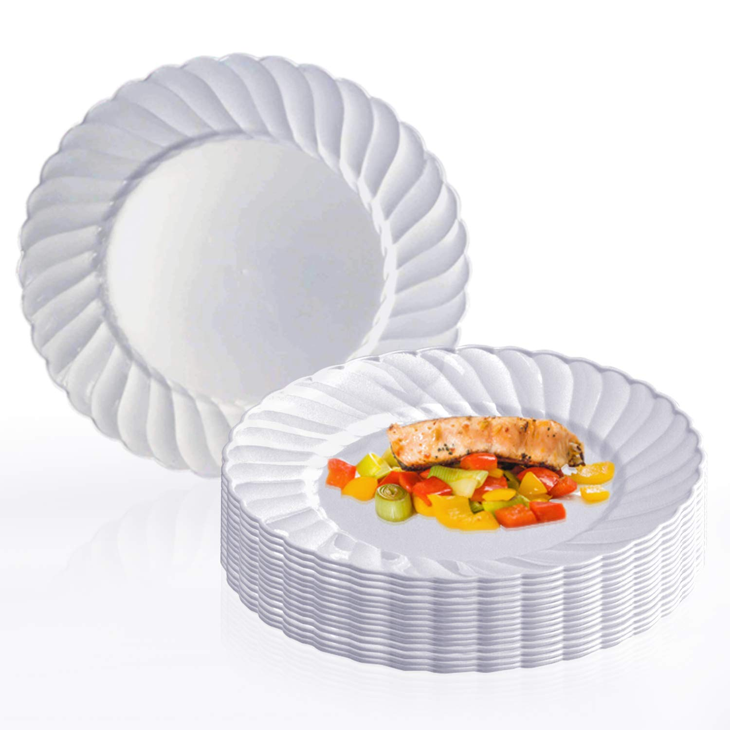Elegant Disposable Plastic Buffet Plates 180 Pcs - 9'' Heavy Duty Fancy Flared White Lunch Plates - Reusable Plastic Party Plates For Weddings, Christmas, Thanksgiving, Birthdays & Other Occasions by Kaya Collection