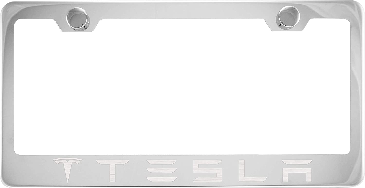 Tesla Chrome License Plate Frame with Cap