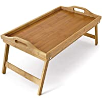 BLOODYRIPPA Extra Large Bamboo Serving Tray with Handles and Folding Legs, Breakfast Bed Tray Table, Lap Desk, 50 x 30 x…