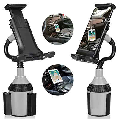 Upgraded 2 in 1 Car Cup Holder Mount for Phone Tablet Hcyang Universal Base & Adjustable Gooseneck Cup Holder Cradle for Cell Phone iPhone Xs Max/Xr/8/7 Plus/Galaxy s10 Plus/ 7/ Note 8/9/ Lg/Huawei …