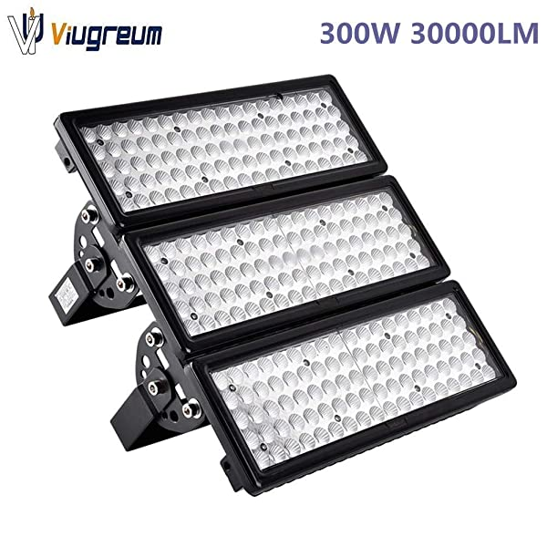Viugreum 300W LED Flood Lights Outdoor, 30000 Lumen, Warm White (2800-3200K) 60° Beam Angle LED Spot Light, IP67 Waterproof Security Light, Stadium Lights Work Light Long Distance Lighting (Color: 300W Warm White)