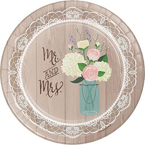 Creative Converting 8 Count Sturdy Style Banquet Plate 10  Rustic Wedding  sc 1 st  Amazon.com & Bridal Shower Paper Plates and Napkins: Amazon.com
