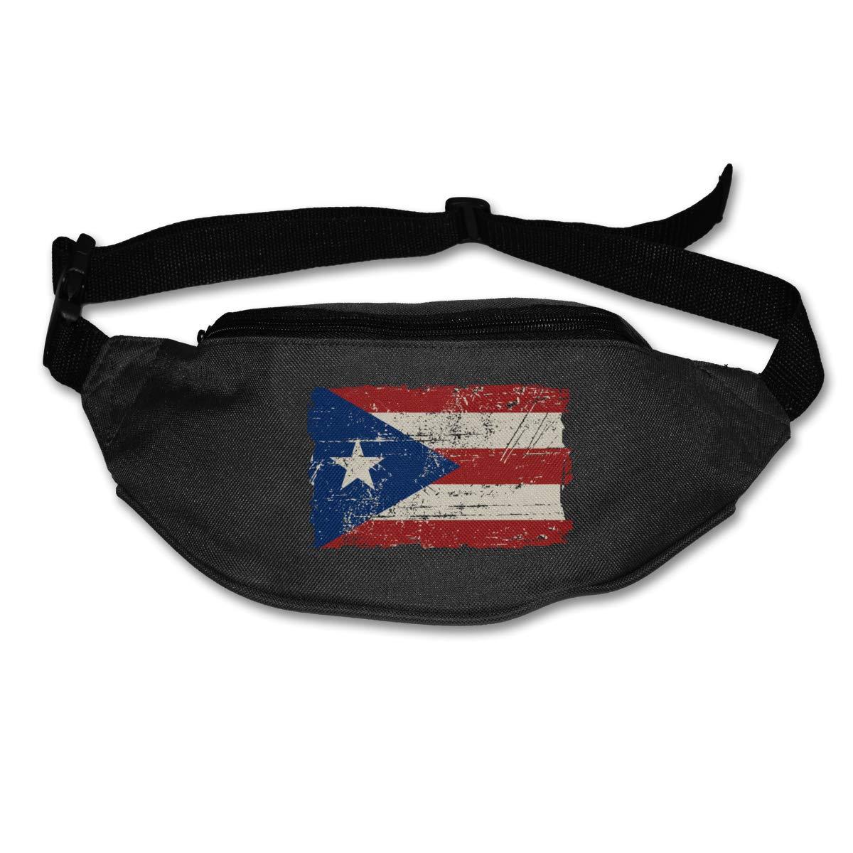 Retro Puerto Rico Flag Sport Waist Packs Fanny Pack Adjustable For Travel