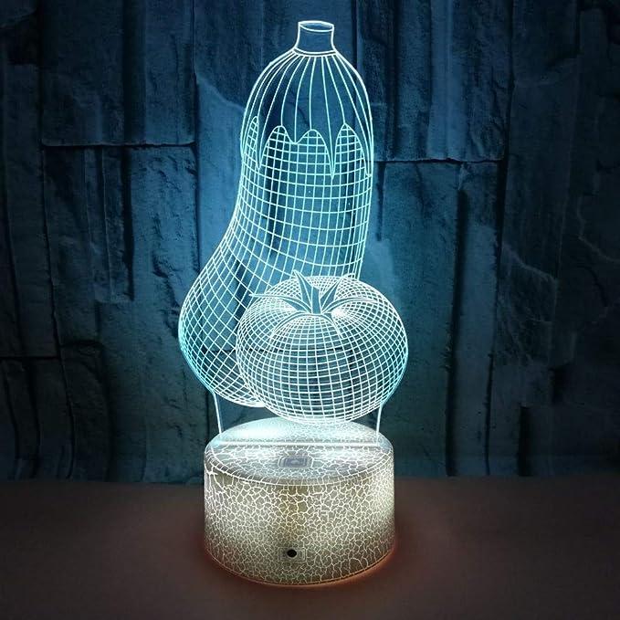 BFMBCHDJ Berenjena creativa Vegetal 3D Lámpara de mesa pequeña ...
