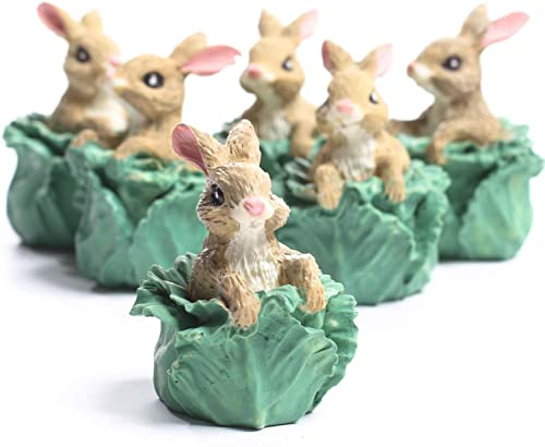 Set of 144 Miniature Resin Bunny in Cabbage Head Figurines – Easter Table Favor Decorations