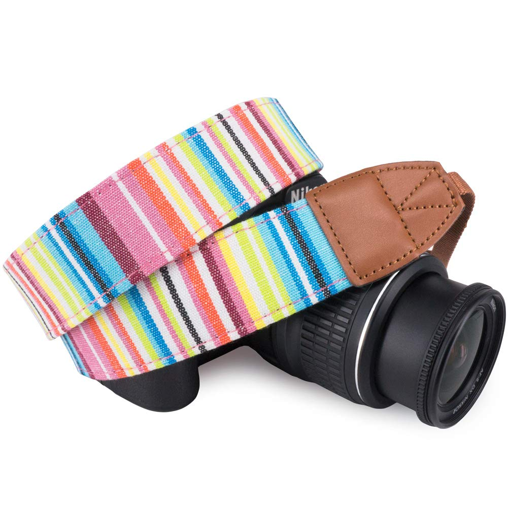 Wolven Pattern Cotton Camera Neck Shoulder Strap Belt Compatible for DSLR/SLR/Men/Women etc, Green Floral