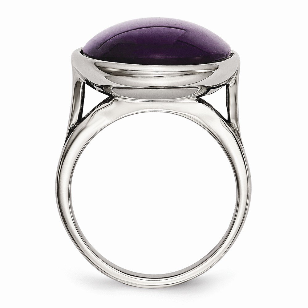 Stainless Steel Gemstone Ring Polished 4 mm Synthetic Amethyst Ring