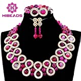 New Pink Chunky Women Jewelry Set Indian Dubai Gold Bridal Necklace Earrings Set African Bride Gift Party Jewelry Set