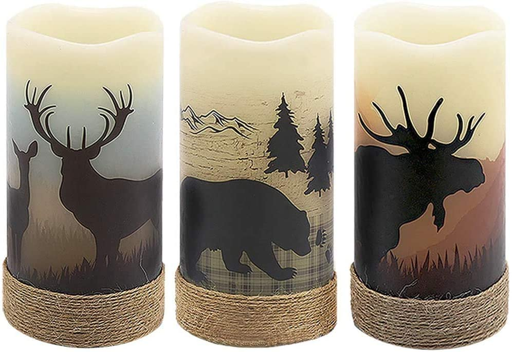 """GenSwin Battery Operated Flameless Led Candles Flickering with Hemp Rope and 6H Timer, Real Wax Pillar Candles Warm Light with Deer, Moose, Bear Decals Decor Christmas Home(Pack of 3, D3"""" x H6"""")"""