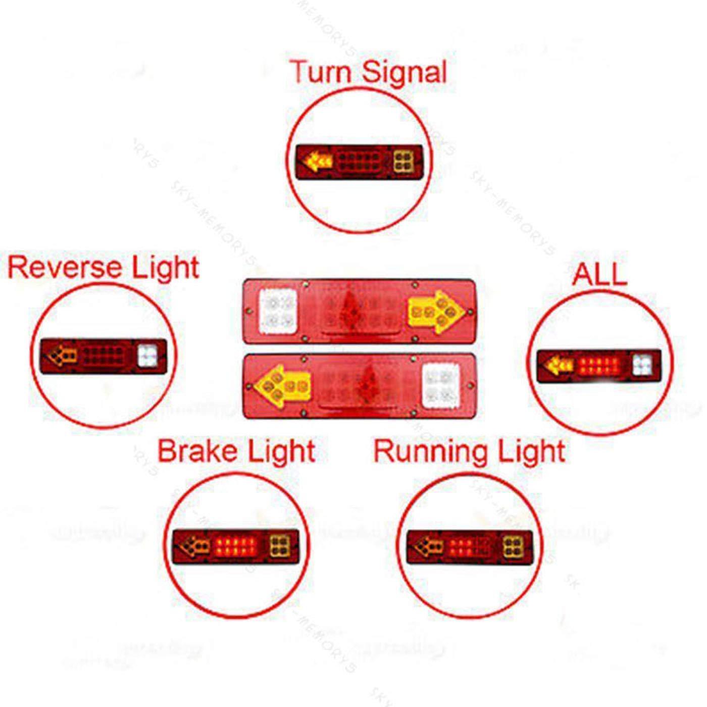MuChangZi 2pcs Feux arri/ère de remorque 19 LED Feux arri/ère Feux de freinage Feux de Camion 12V Caravane Feux arri/ère de Voiture arr/êt indicateur invers/é fl/èches /étanches Lampe