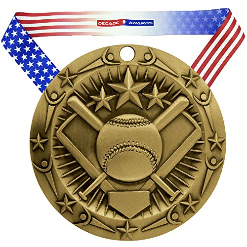 Decade Awards Softball World Class Medal - Gold | WCM Slow Pitch First Place Award | Includes Stars and Stripes American Flag Neck Ribbon | 3 Inch Wide