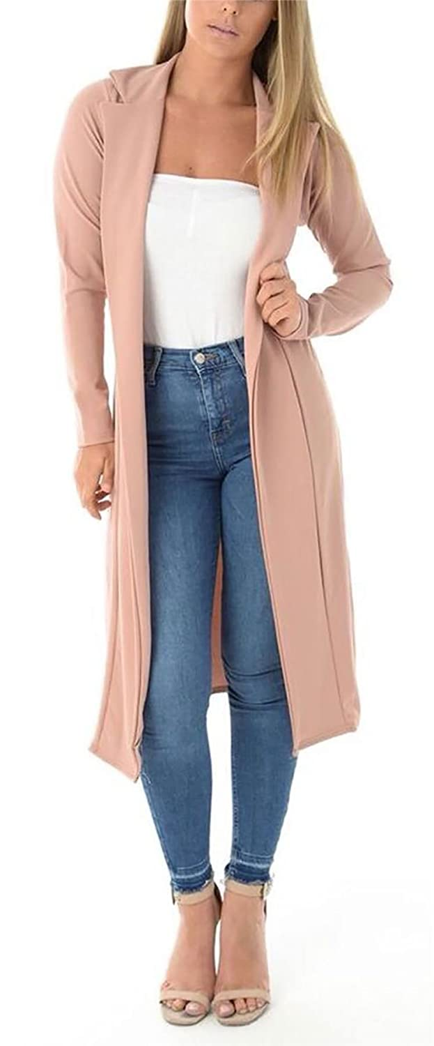 Long Women Duster Open FZK Collared FASHION Coat Ladies Girls Front HUnwY1q
