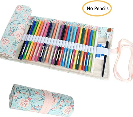 Everun lienzo 48 agujeros para lápices, lápices de dibujo para colorear rollo de soporte para el