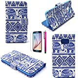 S5 Case, JCmax Elephant Pattern Top Grade PU Leather Wallet Cover [Build In Stand] Flip Magnetic Closure For Samsung Galaxy S5 (1 x screen protector 1 x stylus pen)-Blue-Elephant