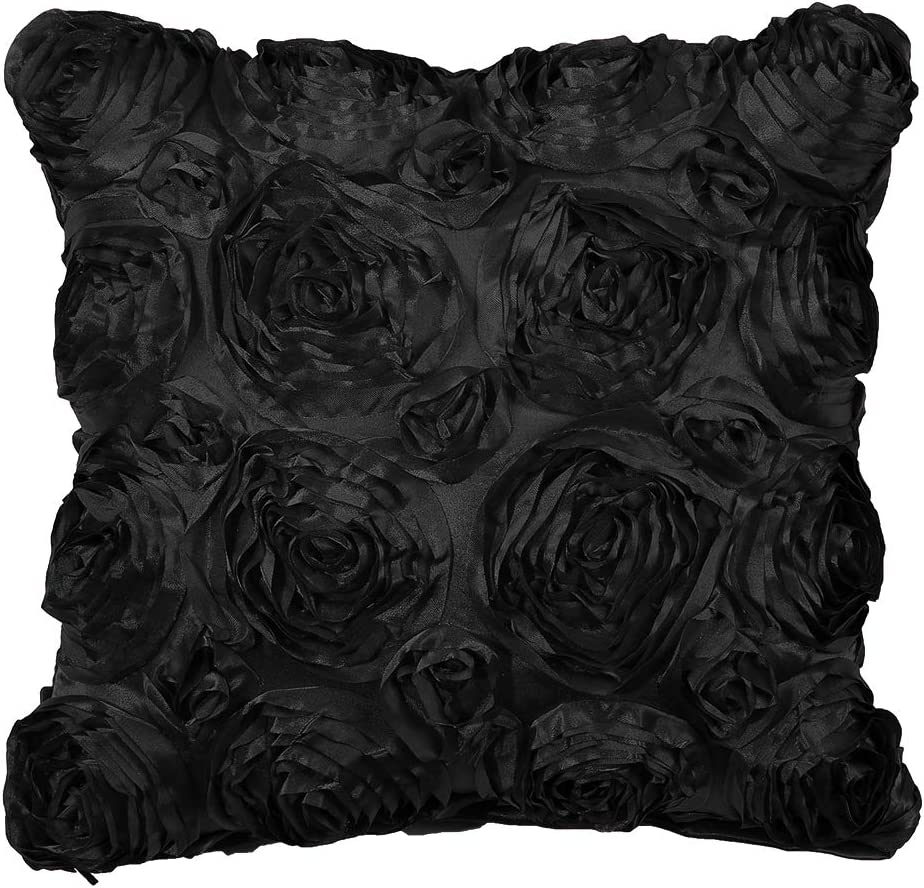 Piccocasa 3d Satin Rose Flower Throw Pillow Cover Shells Arts Decorative Pure Color Roses Floral Cushion Covers For Couch 16 X 16 Black Home Kitchen
