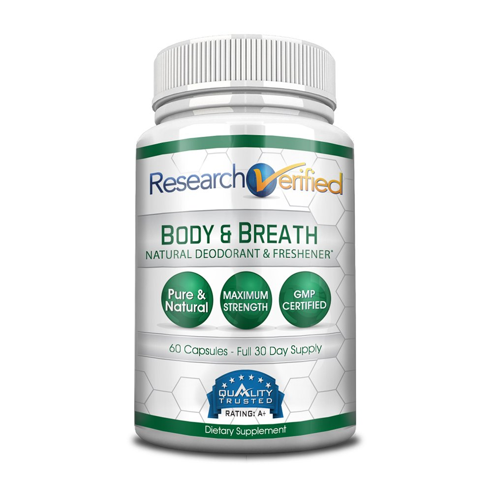 Research Verifed Body & Breath Natural Deodorant & Freshner - #1 Bad Breath & Body Odor Supplement - Provides Relief from Offensive Smells While Balancing Good Bacteria - 1 Bottle (1 Month Supply)