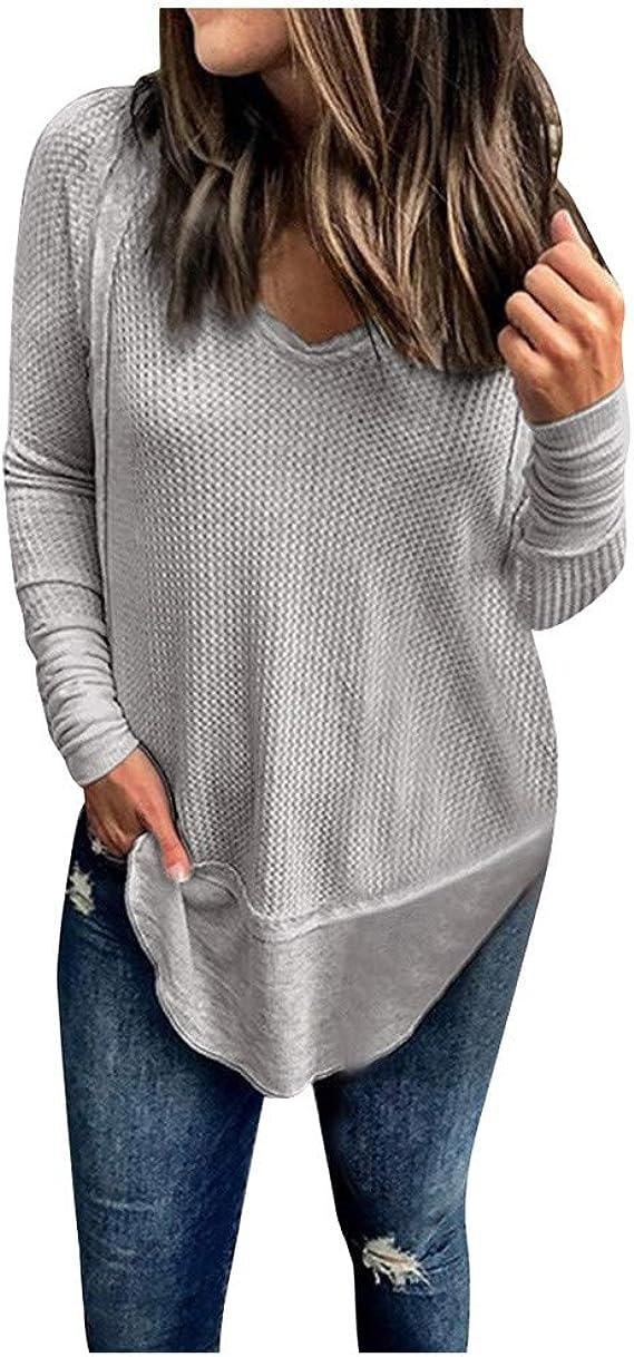 WINLISTING Mujer Casual Camiseta Otoño e Invierno Moda Cuello V Camisa Tops Gran tamaño Sólida Camiseta de Manga Larga Loose Prendas de Punto Camisetas: Amazon.es: Ropa y accesorios
