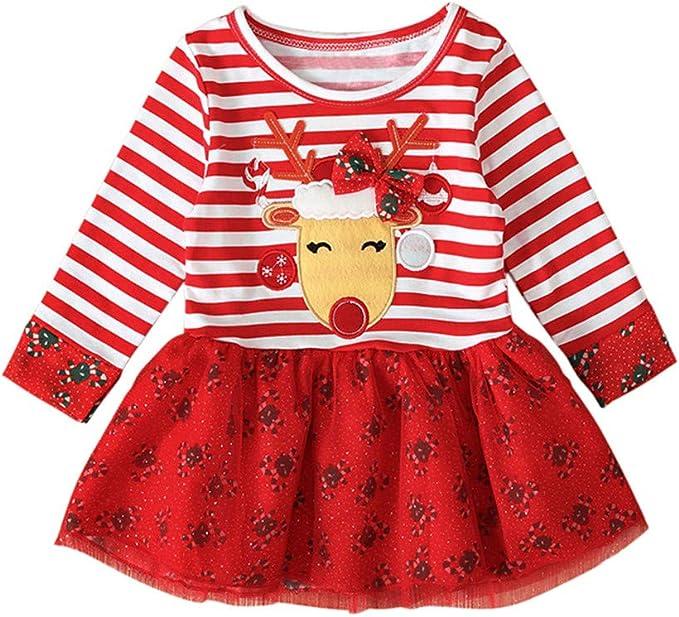 MYONA Vestido para Niña de Navidad, Vestido de Niña para Fiesta de ...