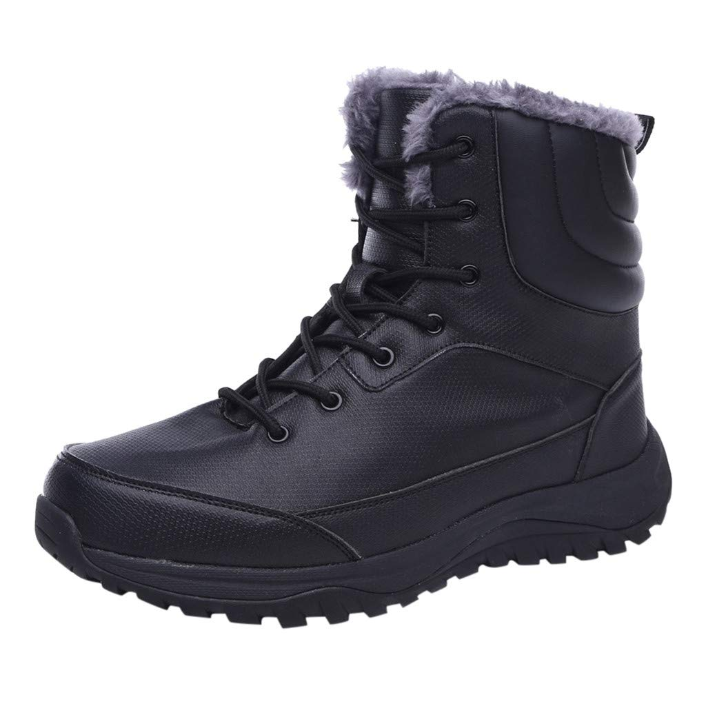 Mens Leather Snow Boots Lace up Ankle Sneakers High Top Winter Shoes with Fur Lining (US:9.5-10, Black) by Suoxo Men Shoes