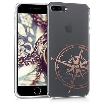 kwmobile Funda para Apple iPhone 7 Plus / 8 Plus - Carcasa Protectora de [TPU] con diseño de Aguja magnética en [Oro Rosa/Transparente]