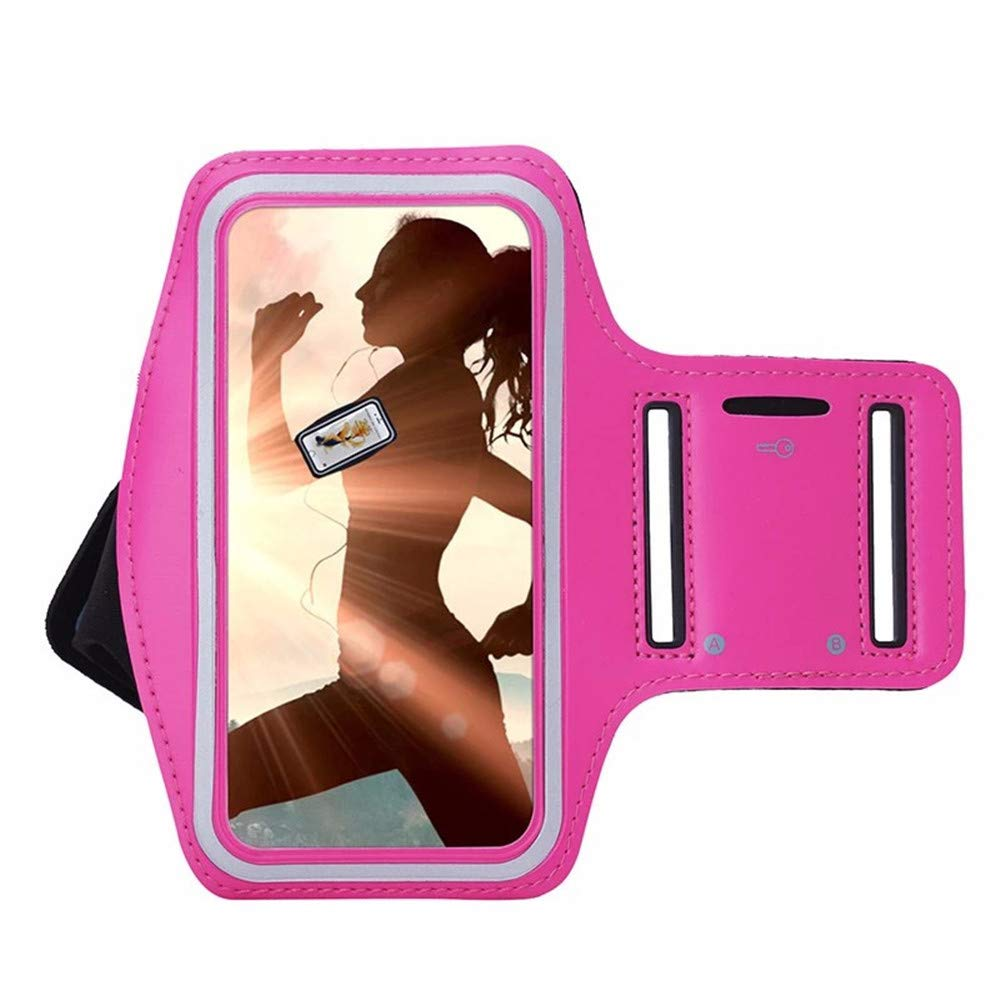 SUKEQ Cell Phone Armband for iPhone XR/XS Max 6.5Inch, Universal Armband Sport Phone Arm Case Holder for Jogging Gym Workout Exercise, Water Resistant, Sweatproof (Hot Pink)