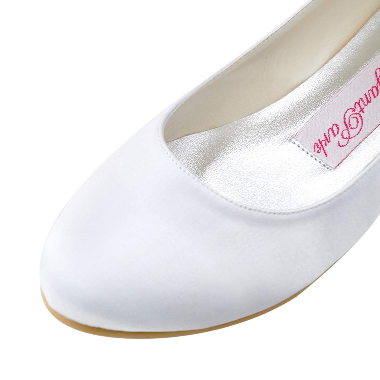 Elegantpark EP11105 Satin avec des Rubans Bride Chevilles Bout Rond Satin Plat Ballerines Chaussures de Mariee Danse