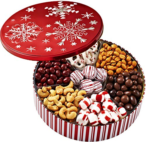 (Christmas Holiday Chocolate Gift Basket - Gourmet Food Gifts Prime Delivery - Chocolate & Nut Gift Box, Assortment Tray - Birthday, Sympathy, Get Well, Men, Women & Families - Bonnie & Pop)