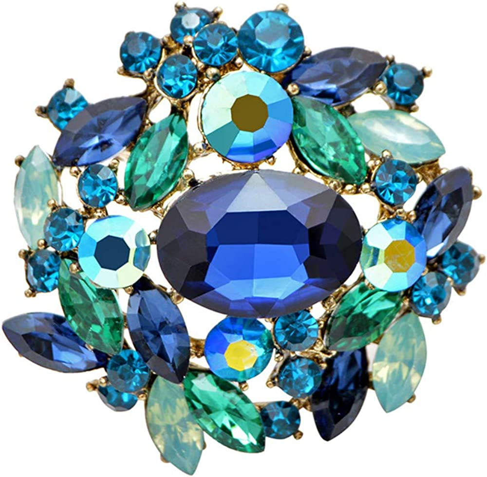 GLEEBROOCH Blue Color Crystal Flower Brooches for Women Shining Crystal Fashion Jewelry Elegant Pin Accessories