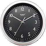 Rikon Quartz Plastic Round Shape 31 cm X 31 cm Fancy Premium Home Decor Wall Clock - 17 (Black Silver)