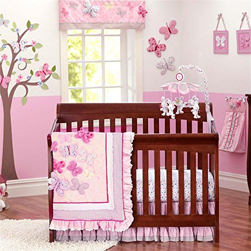 Brandream Butterfly Floral Crib Set Shabby Baby Bedding Pink Crib Bedding Set for Girls With Bumpers,Ideal Baby Shower Gift,7piece Butterfly Nursery Bedding