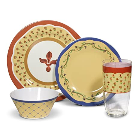 Pfaltzgraff Pistoulet 16 Piece Melamine Dinnerware Set Service for 4  sc 1 st  Amazon.com & Pfaltzgraff Pistoulet 16 Piece Melamine Dinnerware Set Service for 4