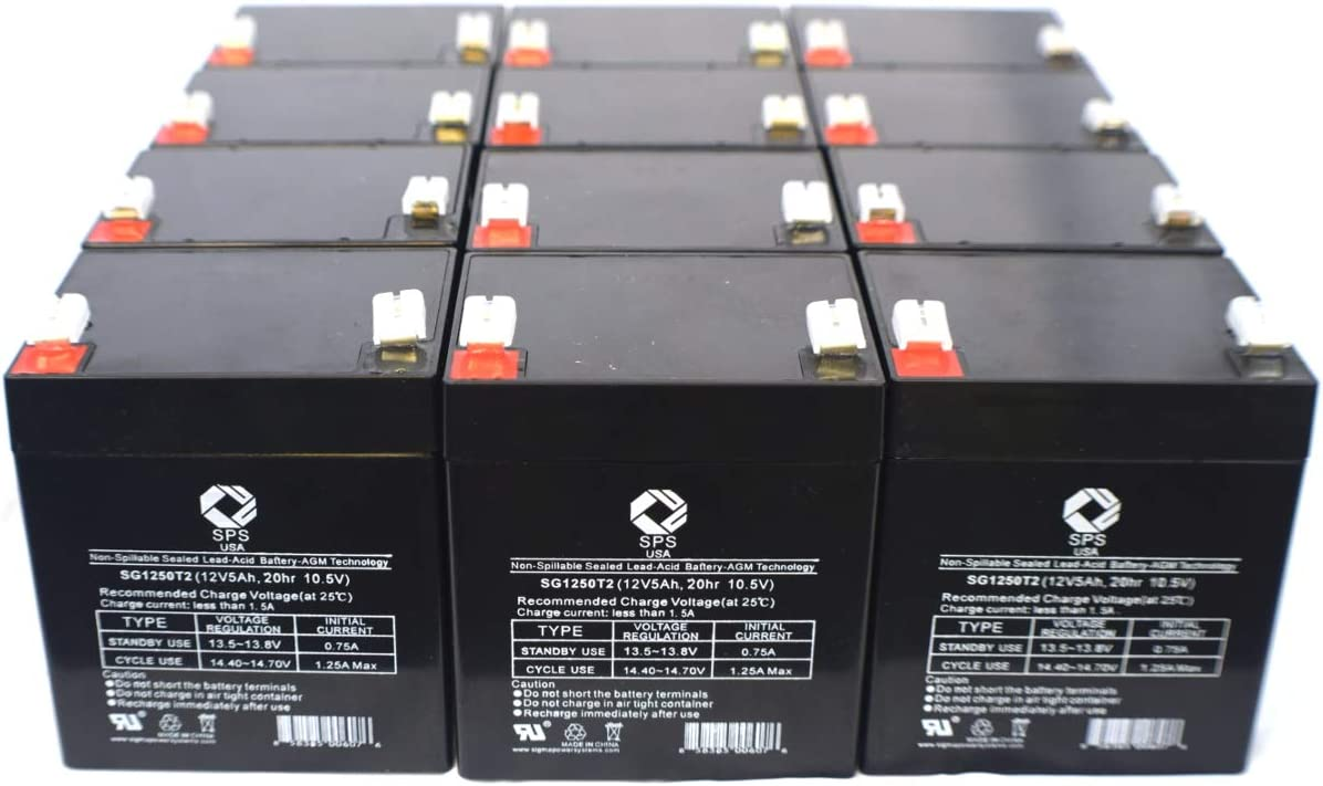 12V 5Ah GE 60-681 Alarm Replacement Battery SPS Brand (12 Pack)
