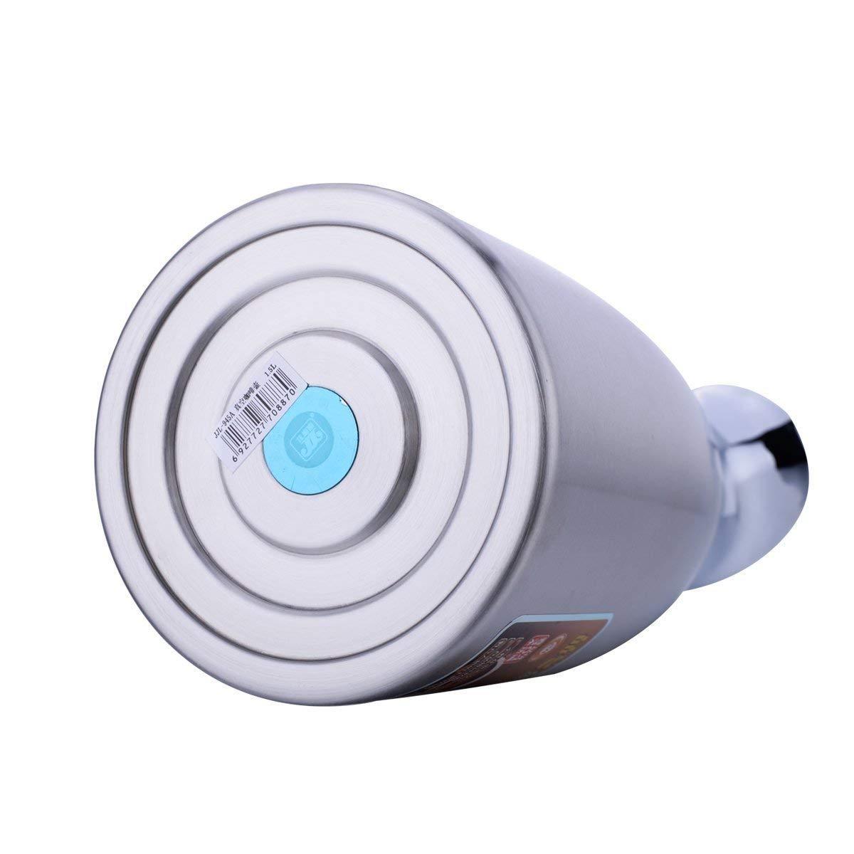 Pot de café - JUNING 2L Thermal Carafe Acier inoxydable à double paroi isolé Pile à thé / eau à grande capacité avec bouton de pression Argent