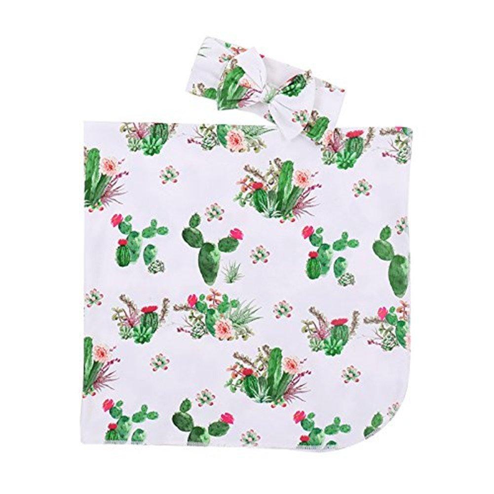 Treafor Baby Receiving Blanket | Infant Floral Swaddling Blanket Llama Cactus Muslin Wrap Cactus)