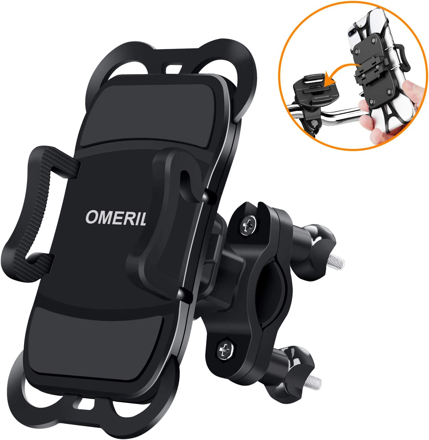 OMERIL Soporte Movil Bicicleta y Moto, Anti Vibración Soporte Movil Bici Desmontable, 360° Rotación Soporte para iPhone X/Xr/Xs/8/7/6, Samsung S9/S8, Huawei P30/P20, GPS y 3.5