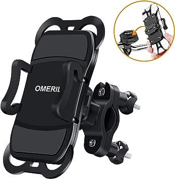 OMERIL Soporte Movil Bicicleta y Moto, Anti Vibración Soporte Movil Bici Universal con 360° Rotación para iPhone X/8/7, Samsung S9/S8, Huawei P20, Xiaomi RedMi Note 9, GPS y 3.5