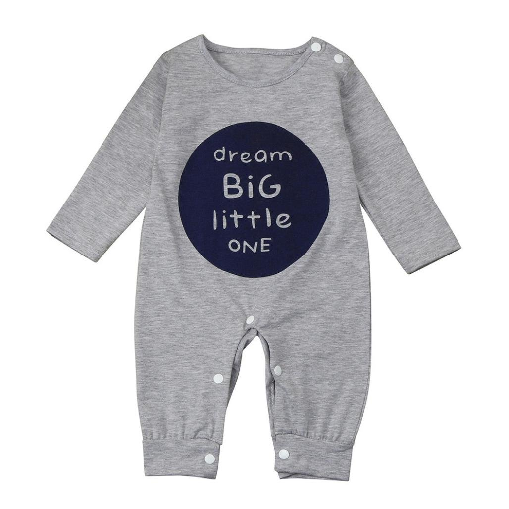 Baby Boy Girl Romper, OSYARD Unisex Newborn Infant Long Sleeve Letter Print Dream Big Little One Romper Jumpsuit Clothes Outfits
