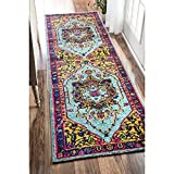 HandTufted Medallion Ornamental Runner Rug, Country Persian Traditional, Natural Colors, Oriental Hand Work Design, Gorgeous Paisley Pattern