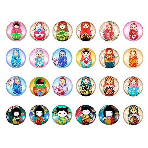 Pandahall 1Box/200Pieces Russian Nesting Dolls Printed Glass Cabochons Flatback Half Round Dome Glued Tiles Mixed Color 12x4mm for Circle Bezel Tray Setting ()